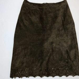 Classiques Genuine Brown Leather Suede Skirt